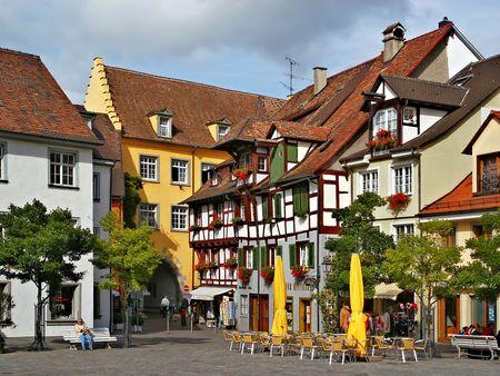 Quiet street in an old town Meersburg, Germany