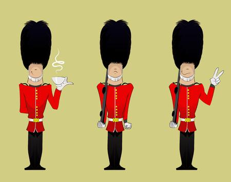 Three British Soldiers cartoons . Vector fun character illustration