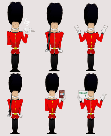 Illustration for Three British Soldiers with weapon, Enlish dictionary, welcome sign, cup of tea and peace sign  . Honorary royal guard, Beefeaters vector set. - Royalty Free Image
