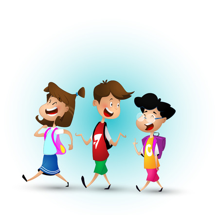 Illustration for Group of kids going to school together. - Royalty Free Image