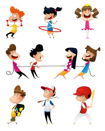Illustration pour Illustration of many children doing sports - image libre de droit