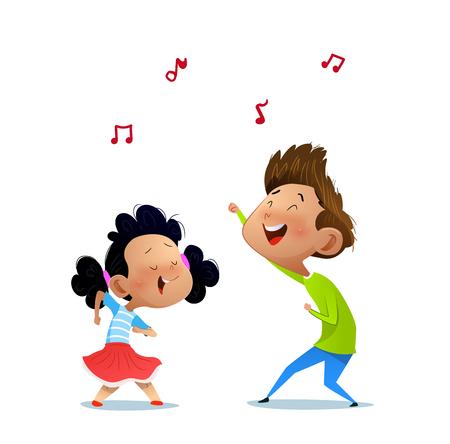 Illustration of two dancing kids. Cartoon vector illustration