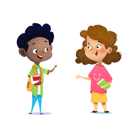 Illustration for Two multiracial children studying, reading books and discuss them. Cartoon vector illustration - Royalty Free Image