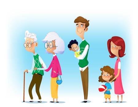 Foto de Big family together. Mother and father with babies, children and grandparents. Vector - Imagen libre de derechos