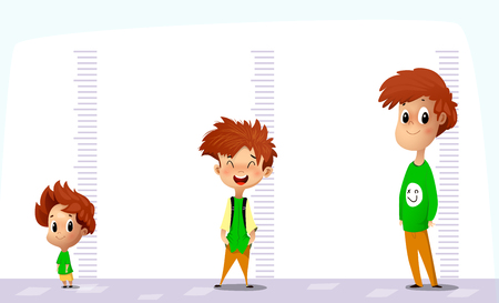 Illustration pour Happy boy measures his growth in different ages. Funny cartoon vector art on white background. - image libre de droit