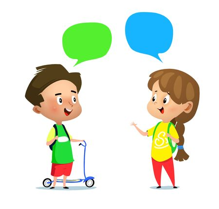 Illustration for Cartoon boy with scooter and a girl talking to each other. Vector illustration - Royalty Free Image