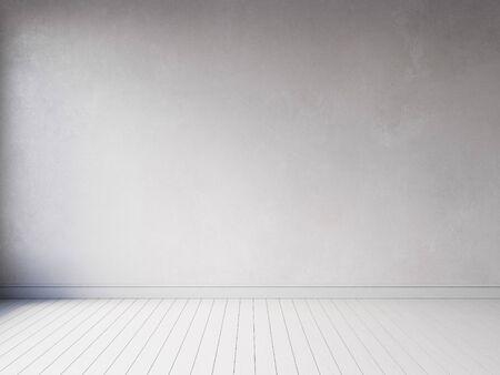 Photo pour 3d render empty interior with wood floor and wood panels - image libre de droit