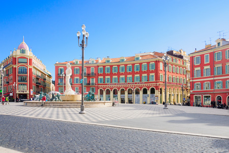 NICE, FRANCE - JAN 26, 2015: Scene of local and tourist in the Place Massena square in Nice, Provence-Alpes-Cote d