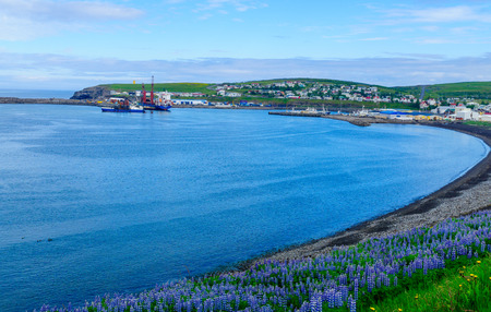 View of the fishing town Husavik, northeast Iceland