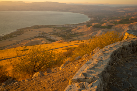 Photo pour View of the northern part of the Sea of Galilee (the Kinneret lake), from the east, at sunset, Northern Israel - image libre de droit