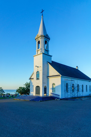View of the Les Saints-Sept-Freres Catholic church, in Grosses-Roches, Gaspe Peninsula, Quebec, Canada