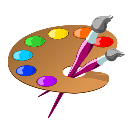 color illustration of paintbrushes and a palette with basic colors.