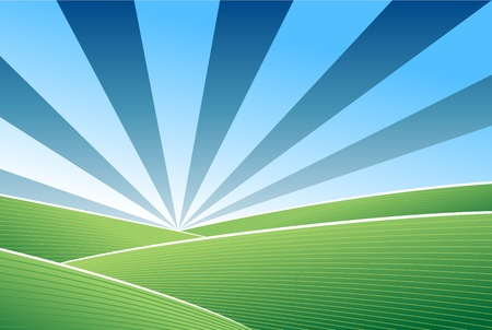 Abstract green field and blue sky vector background