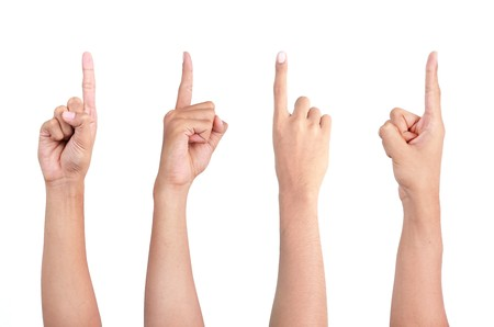 a set of gesture of hand pointing in four different angle