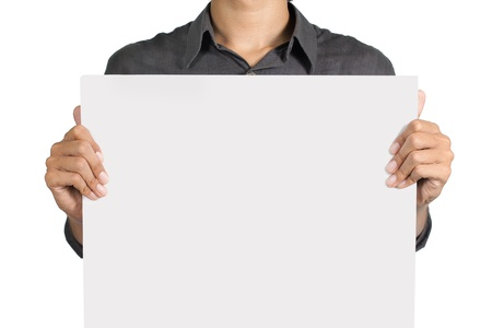 man holding blank white board isolated over white background