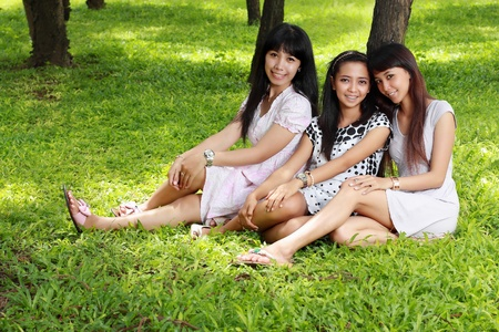 young asian woman picnic with friends