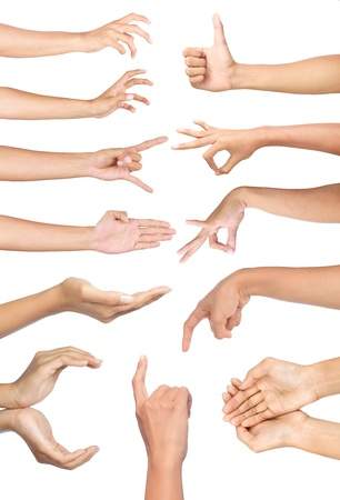 Foto de Set of many different hands gesture over white background - Imagen libre de derechos