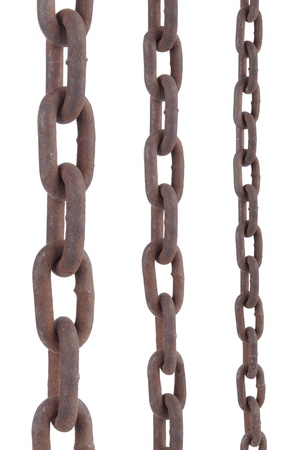 rusty old steel chain in any different size on white background