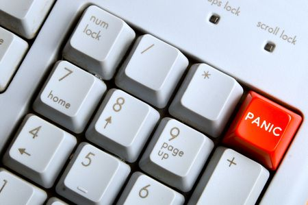 A panic button on a computer keyboard.