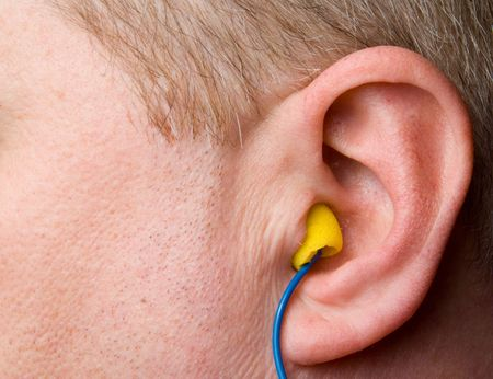 A set of personal protective equipment known as ear plugs.