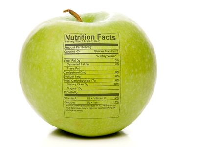 The nutrition facts stamped on an apple.
