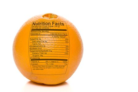Nutrition Facts printed on an delicious orange.