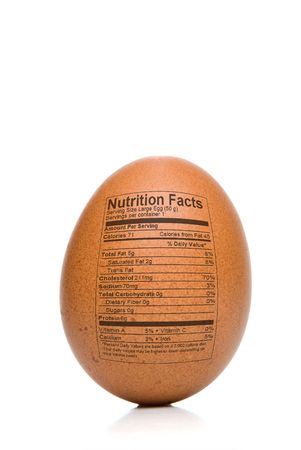 Egg Nutrition Facts printed on the outside of a brown egg.