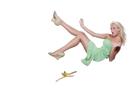 A person about to do the classic slip on a banana peel