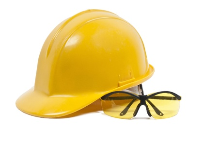 Safety glasses and hard hat personal protective equipment