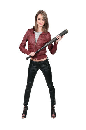 Woman gang banger holding a baseball bat