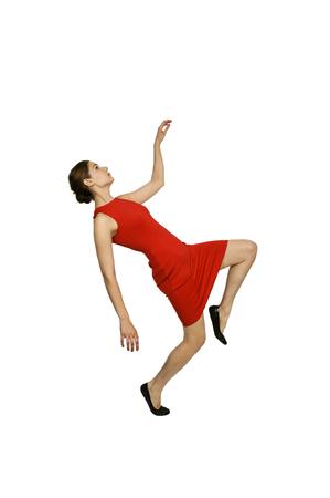Beautiful young woman dancing the night away