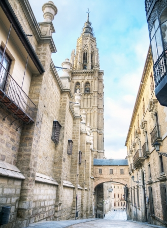 Cathedral and Gothic style bell tower of the city of Toledo, Spain