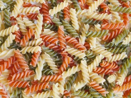 colored fusilli pasta