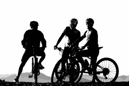 Illustration for Silhouette of three male bicyclist on their mountain bikes having a rest. Sports, activity and bicycling concepts. - Royalty Free Image