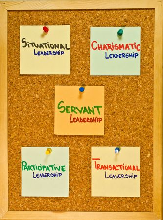 Post it notes on a wooden board representing leadership theories