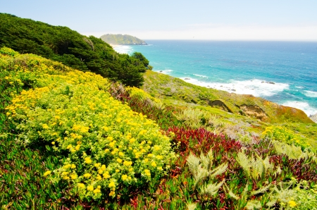 The California coastline along State Route 1, with Point Sur Historic Park in background