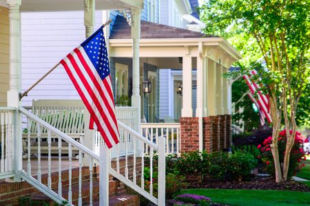 Photo for American Flags on Front Porches - Royalty Free Image