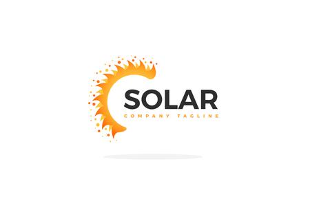 Ilustración de Yellow Solar Panel Logo Vector Half Sun Shape With Slogan - Imagen libre de derechos