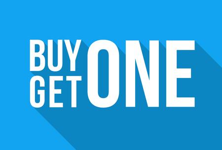 Illustration pour Blue Shop Vector Sign For A Buy One Get One Free Off Clearance Winter Sale - image libre de droit