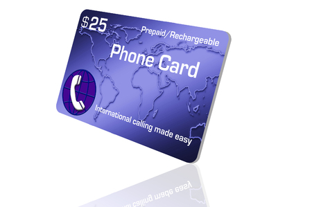 Photo pour Here is a prepaid cell phone calling card isolated on background. - image libre de droit
