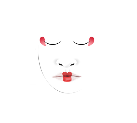 This is an illustration of a Japanese geisha's unusual facial makeup. Here lips and eyes are carefully defined in red with a fine tipped brush dipped in makeup. This is isolated on white background.