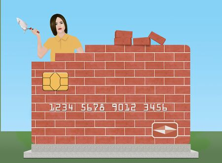 Photo pour A young woman holds a trowel and mortar as she rebuilds a brick credit card outdoors. The theme is rebuilding or repairing your credit rating. - image libre de droit