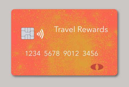 Photo pour Here is generic orange and yellow travel rewards credit card. - image libre de droit