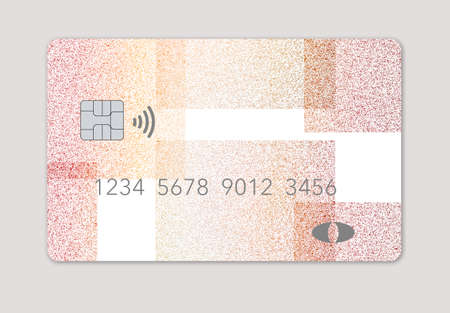 Photo pour Here is a mock generic debit card with light blue slashing lines over a dark blue background  isolated on a grey background. - image libre de droit