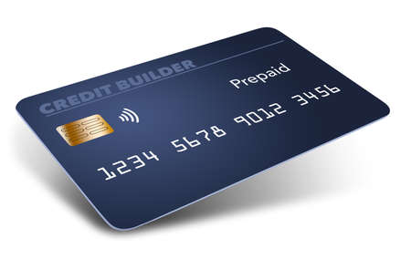 Photo pour Here is a blue pre-paid credit building or credit repairing credit card. Is is a mock generic card isolated on a white background. - image libre de droit