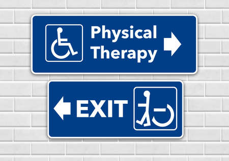 Photo pour A wheelchair accessible sign points the way to physical therapy and pointing the other way toward the exit is a person standing in a wheelchair sign. - image libre de droit