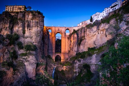 Ronda is a city in the Spanish province of Malaga, within the autonomous community of Andalusia, view of Puente Nuevo (New Bridge) over El Tajo canyon