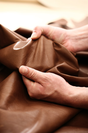 Photo pour The plant leather craftsman. Hands tailor to check the quality of the material - image libre de droit