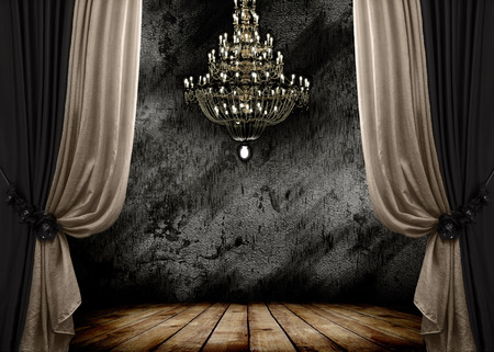 Image of grunge dark room interior with wood floor and chandelier  Background