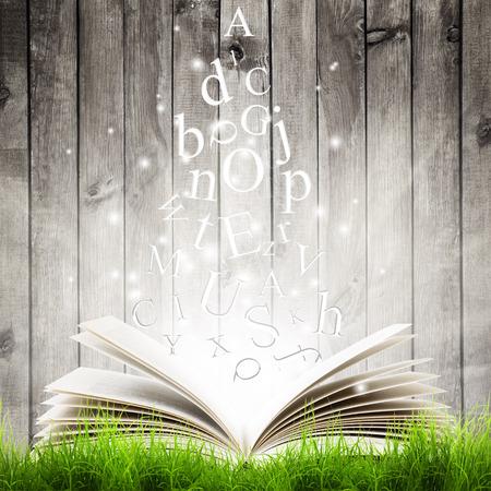 Foto de Open book with flying letters in green grass over wooden background. Magic book - Imagen libre de derechos
